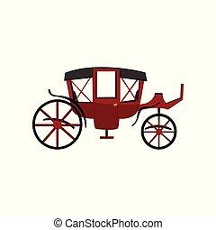 vagão, transporte, vindima, carruagem, ilustração, vetorial, retro, fundo, branca, viajando