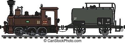 vagão, vapor, tanque, locomotiva, vindima