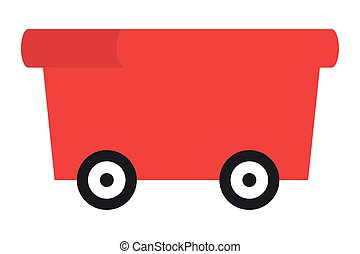 vagão, vermelho, ícone