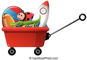 vagão, vermelho, brinquedos