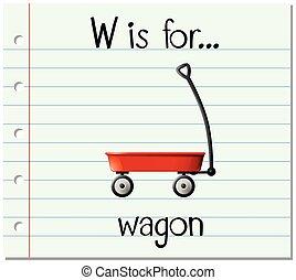 vagão, w, letra, flashcard