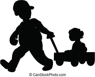 vagón, padre, hija, tirar