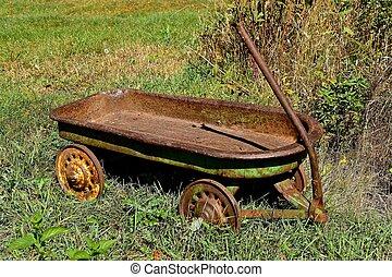 vagón, viejo, incansable, niño