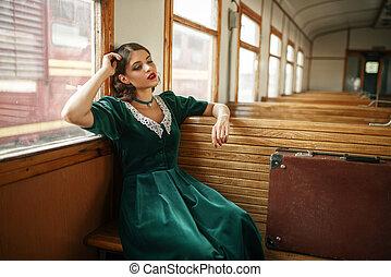 vagón, viejo, tren, retro, hembra, interior, viajero