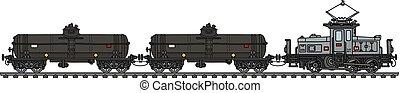 vagões, antigas, tanque, elétrico, locomotiva