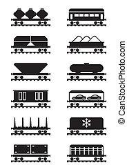 vagões, diferente, estrada ferro, tipos