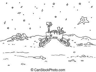vagabond, espace, colonisation, étoilé, -, illustration, cratères, planète, lointain, mars, rochers, contour, ciel