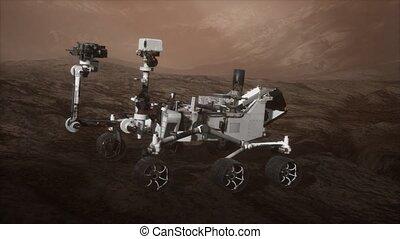 vagabond, explorer, surface, planète, curiosité, mars, rouges