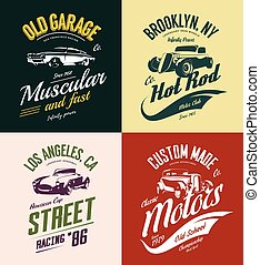 vagabondo, t-camicia, vendemmia, set., verga, isolato, costume, caldo, vettore, automobile, logotipo, muscolo