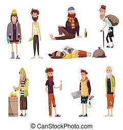 vagabundo, gente, desempleo, necesitar, culito, desempleados, sucio, triste, ropa, personas., caracteres, help., set., mendigo, sin hogar, o, conjunto, dinero, hombres, mendigar