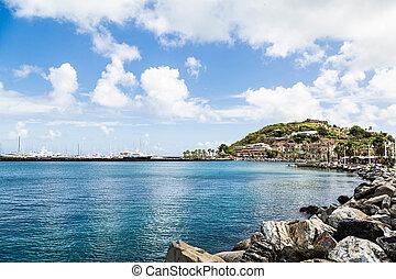 vagga, seawall, till, karibisk, inköp, mal
