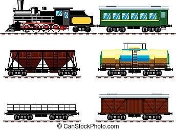 vagnar, gammal, ånga, lokomotiv