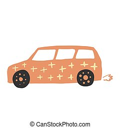 Vagon car in doodle style. Cute children automobile transportation. Baby transport.