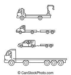 vagone, arte, icone, set, -, illustrazione, vettore, minivan, trasporto, gru, camion, linea, roulotte