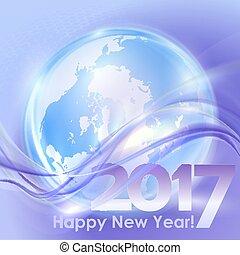 vague bleue, fond, année, nouveau, heureux