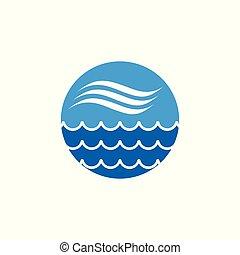 vague bleue, forme, vecteur, fond, cercle, icône