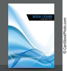 vague bleue, vecteur, brochure, /, livret, couverture,...