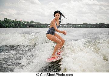 vague, canot automobile, équitation, planche, femme