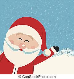 vague, claus, santa, fond, neigeux