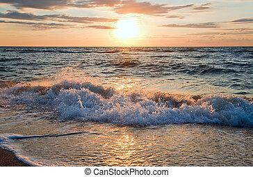 vague, coucher soleil, ressac, mer