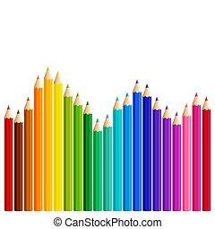 vague, crayons, coloré