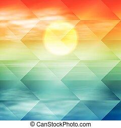vague, eau, arrière-plan., time., coucher soleil, géométrique