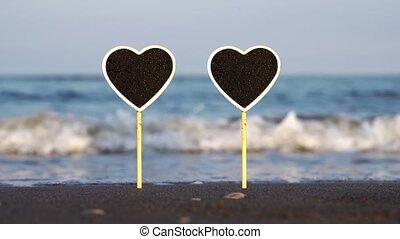 vague, formé, contre, paire, courant, nameplates, coeur, sable