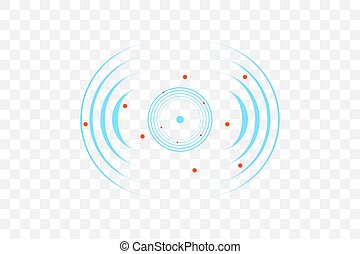 vague, illustration., signe., vecteur, sonar, radar, icône