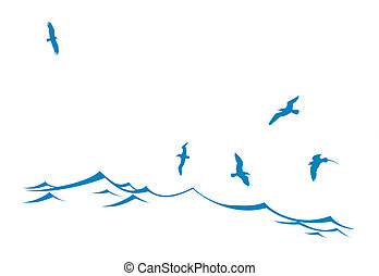 vague, mer, silhouette, oiseaux
