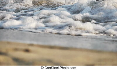 vague, plage, macro, mouvement, lent