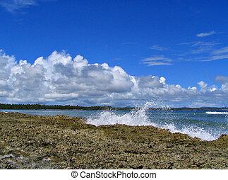 vague, rupture, plage, océan