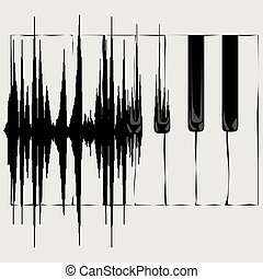 vague, son, clavier, piano