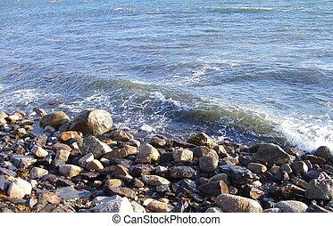 vague, sur, rochers