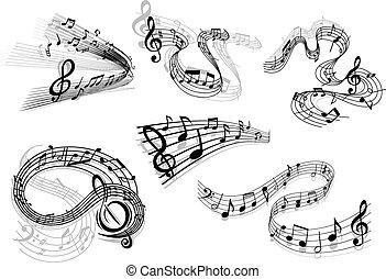 vague, tourbillonner, musical, icônes