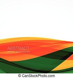 vague, vecteur, arrière-plan vert, orange, conception