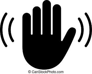vague, vecteur, icône, main