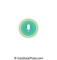 vagues, audio, cercle, microphone, blanc vert, icon.