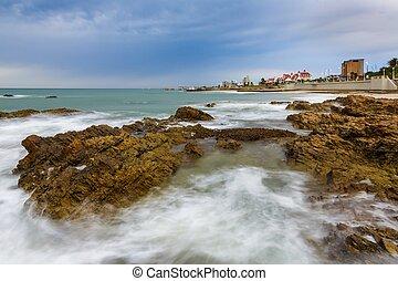 vagues, bord mer, paysage, rochers