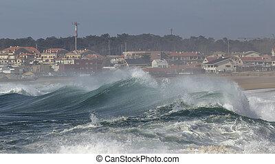 vagues, côte, orageux, approchant
