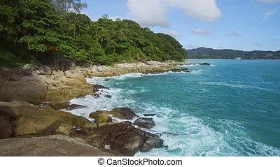 vagues, exotique, phuket, son, rocheux, thaïlande, plage