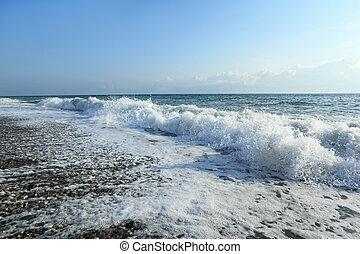 vagues, grand-angulaire, côte