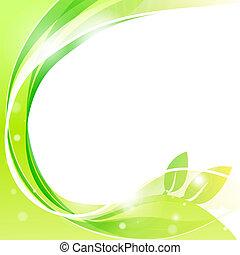 vagues, lignes, résumé, blanc vert