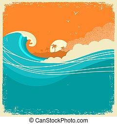 vagues, marine, papier, text., vendange, vieux, île, affiche, océan