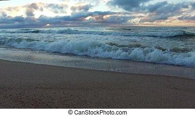 vagues, mer, baltique, ressac