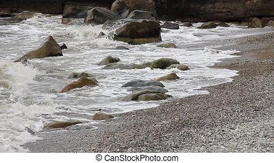 vagues, orageux, pierreux, côte