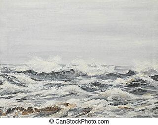 vagues, peinture huile, gris, mer