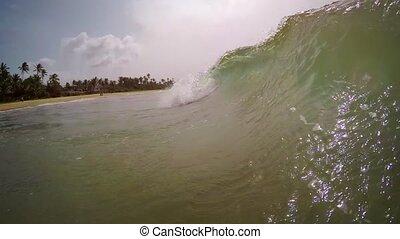 vagues, plage., lanka., baigner, sri, hikkaduwa, grand