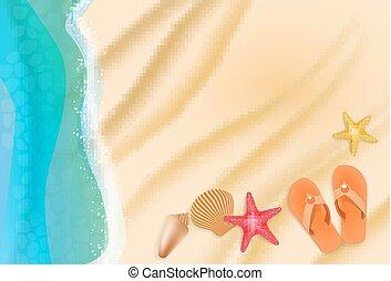 vagues, sable, illustration, etoile mer, eau, vecteur, seashells., fond, plage
