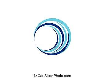 vagues, vague, sphère, cercle, logo, bleu