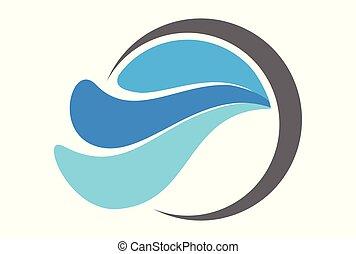vagues, vecteur, logo, eau, bleu